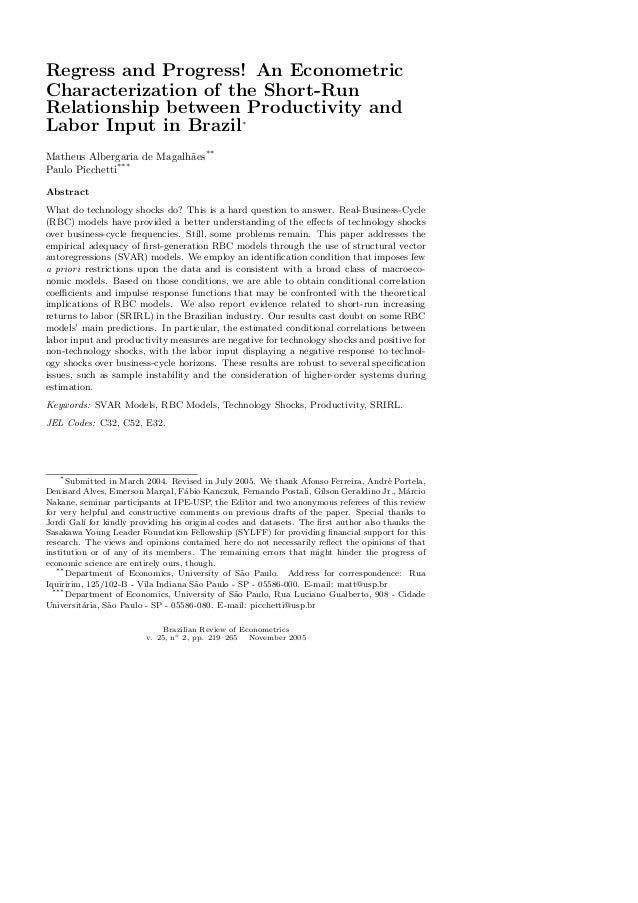 Regress and Progress! An Econometric Characterization of the Short-Run Relationship between Productivity and Labor Input i...