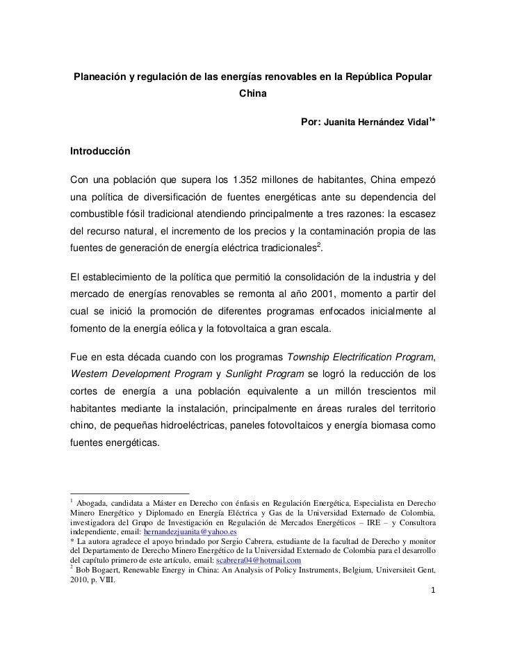 Planeación y regulación de las energías renovables en la República Popular                                                ...