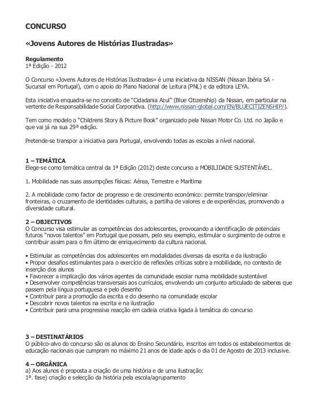 CONCURSO«Jovens Autores de Histórias Ilustradas»Regulamento1ª Edição - 2012O Concurso «Jovens Autores de Histórias Ilustra...
