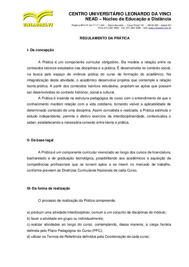 CENTRO UNIVERSITÁRIO LEONARDO DA VINCI                                 NEAD – Núcleo de Educação a Distância              ...