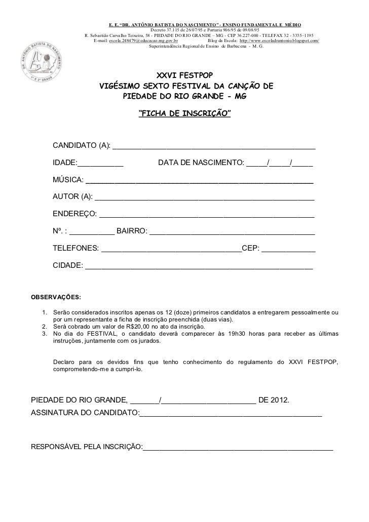 """E. E. """"DR. ANTÔNIO BATISTA DO NASCIMENTO"""" - ENSINO FUNDAMENTAL E MÉDIO                                                   D..."""
