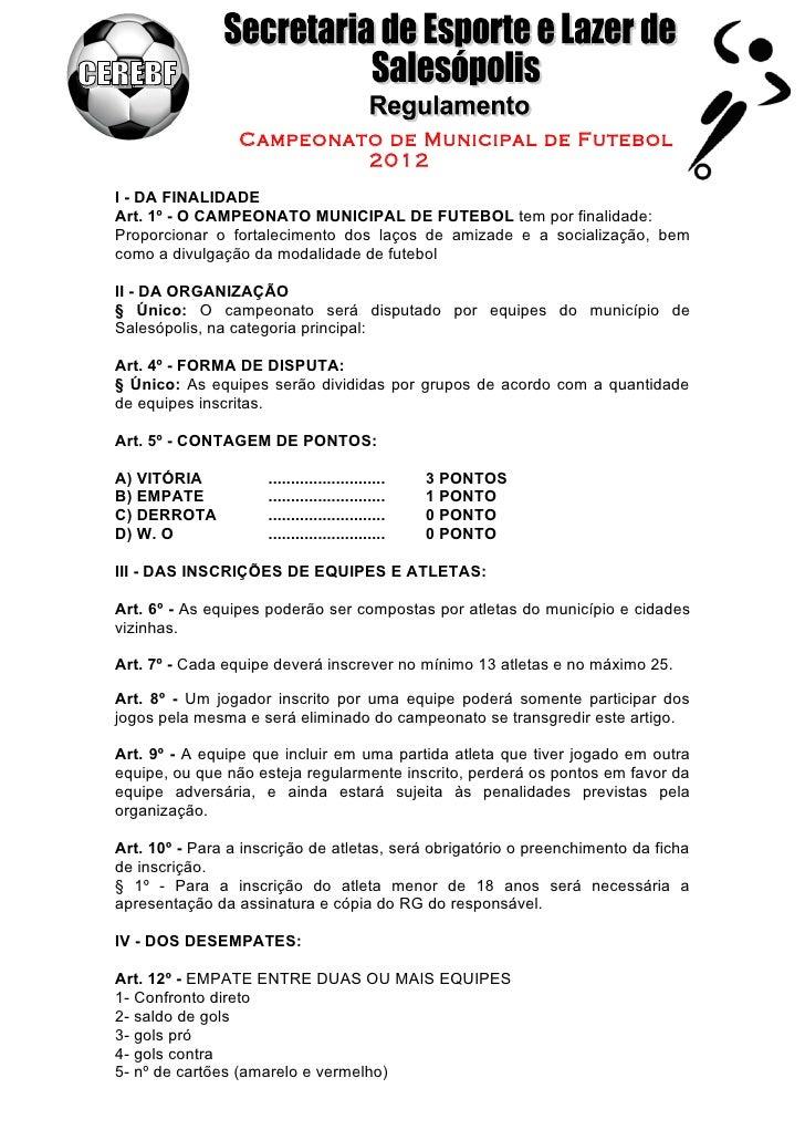 Regulamento campeonato de férias 2011