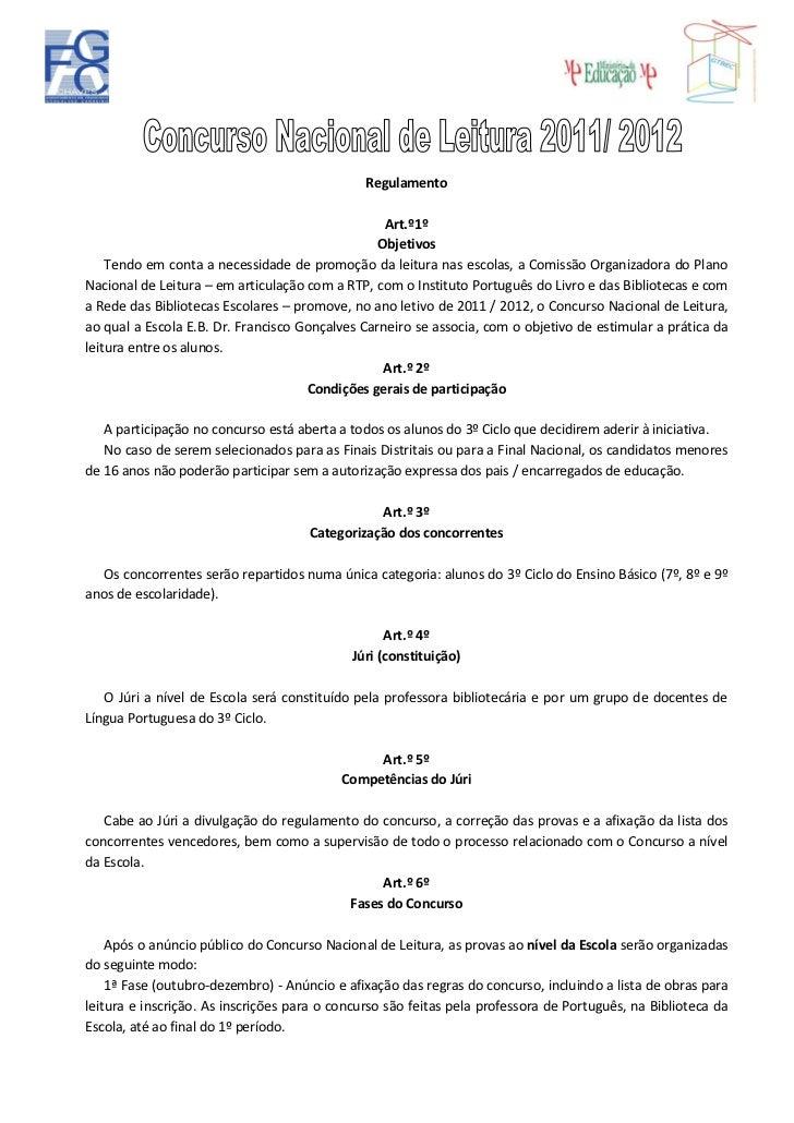 Regulamento                                                  Art.º1º                                                 Objet...
