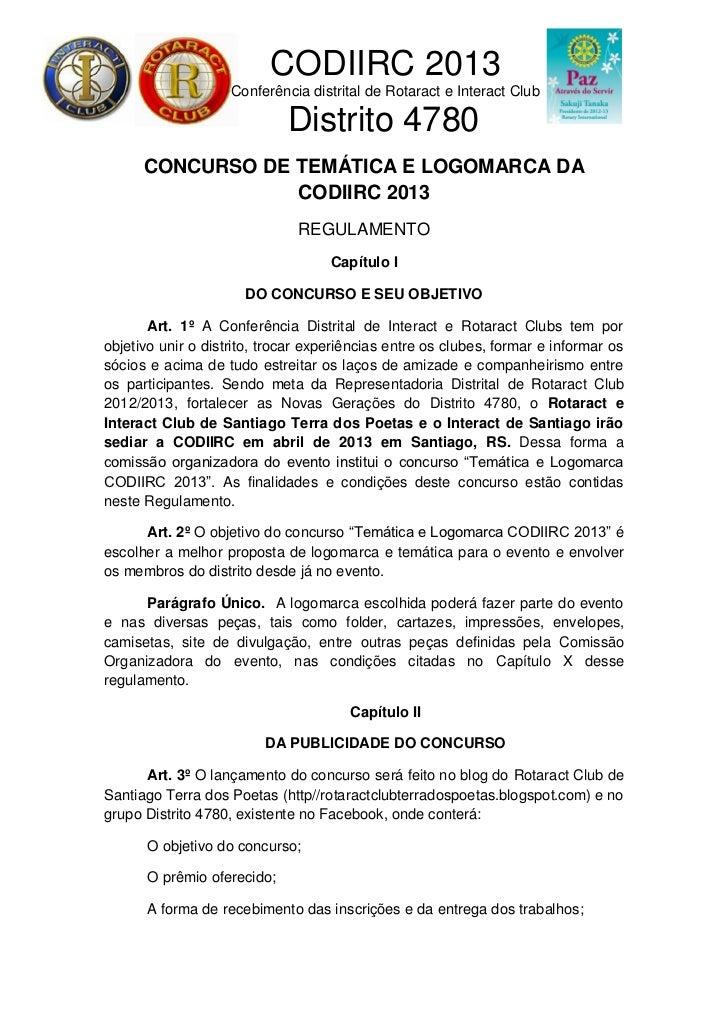 Regulamento concurso codiirc 2013