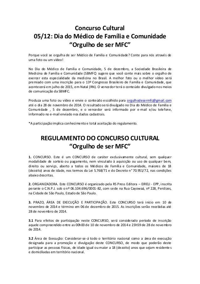 """Concurso Cultural  05/12: Dia do Médico de Família e Comunidade  """"Orgulho de ser MFC""""  Porque você se orgulha de ser Médic..."""