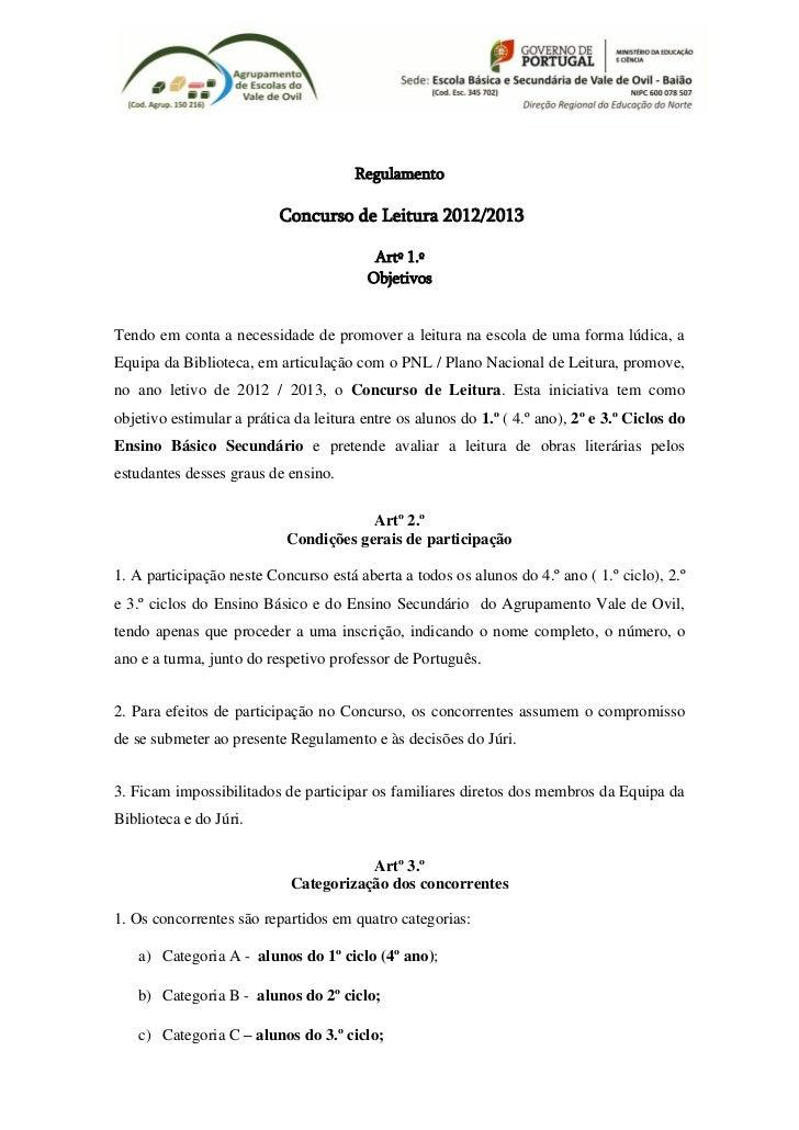 Regulamento                          Concurso de Leitura 2012/2013                                          Artº 1.º      ...