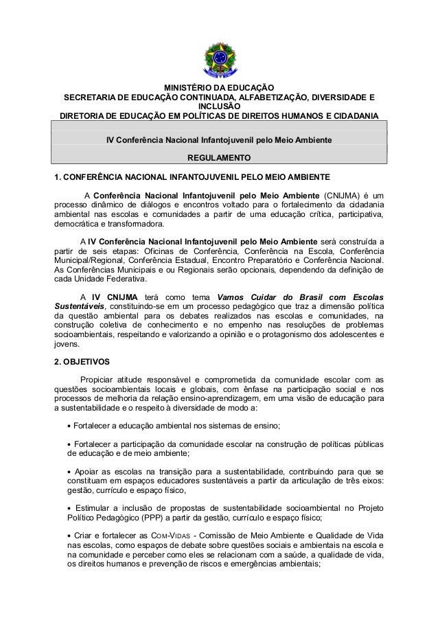 MINISTÉRIO DA EDUCAÇÃO SECRETARIA DE EDUCAÇÃO CONTINUADA, ALFABETIZAÇÃO, DIVERSIDADE E INCLUSÃO DIRETORIA DE EDUCAÇÃO EM P...