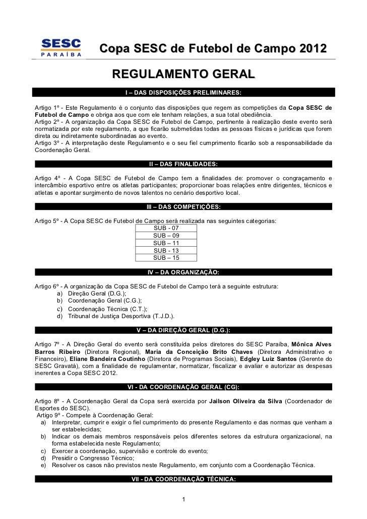 Regulamento Copa SESC 2012
