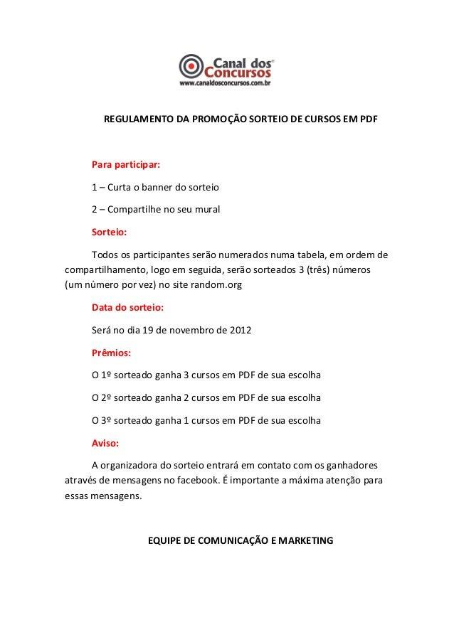 Regulamento da promoção sorteio de cursos em pdf