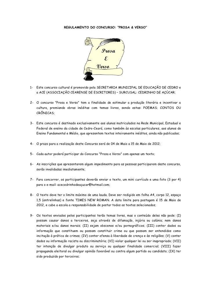 Regulamento do concurso Prosa e Verso