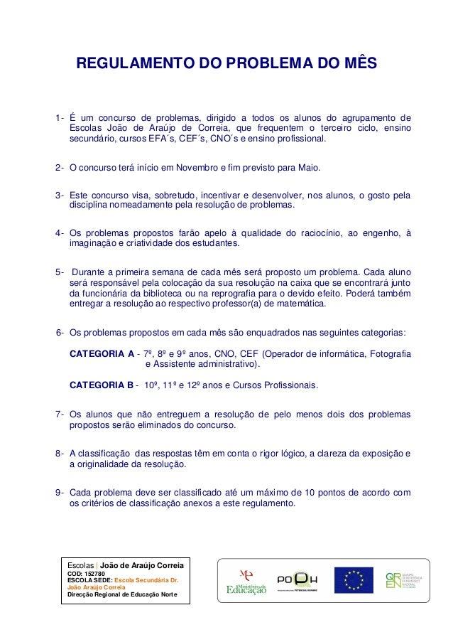 Escolas   João de Araújo Correia COD: 152780 ESCOLA SEDE: Escola Secundária Dr. João Araújo Correia Direcção Regional de E...