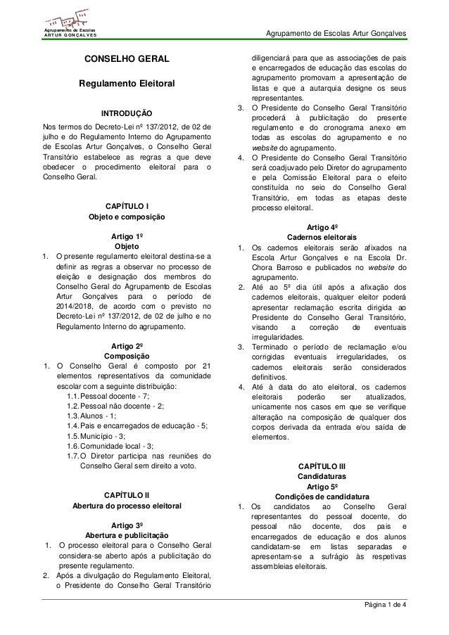 Agrupamento de Escolas Artur Gonçalves  Página 1 de 4  Agrupamento de Escolas  ARTUR GONÇALVES  CONSELHO GERAL  Regulament...
