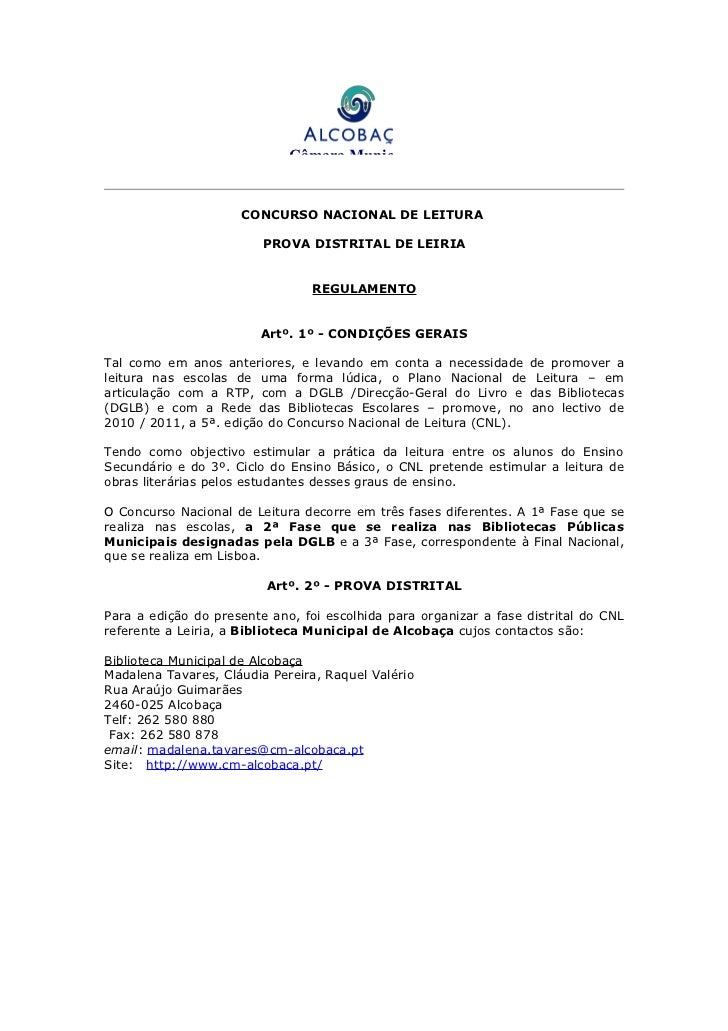 Câmara Municipal                     CONCURSO NACIONAL DE LEITURA                         PROVA DISTRITAL DE LEIRIA       ...