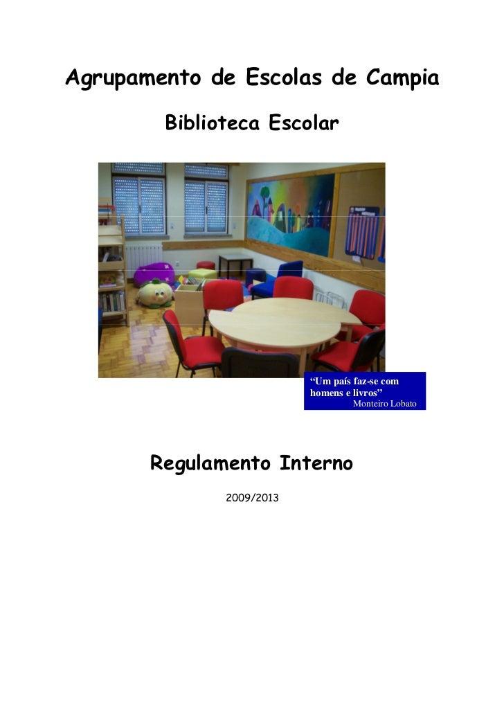 Regulamento interno da biblioteca escolar