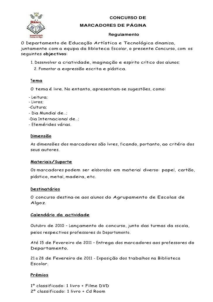 -88265-86360         CONCURSO DE MARCADORES DE PÁGINA<br /> Regulamento<br />O Departamento de Educação Artística e Tecnol...