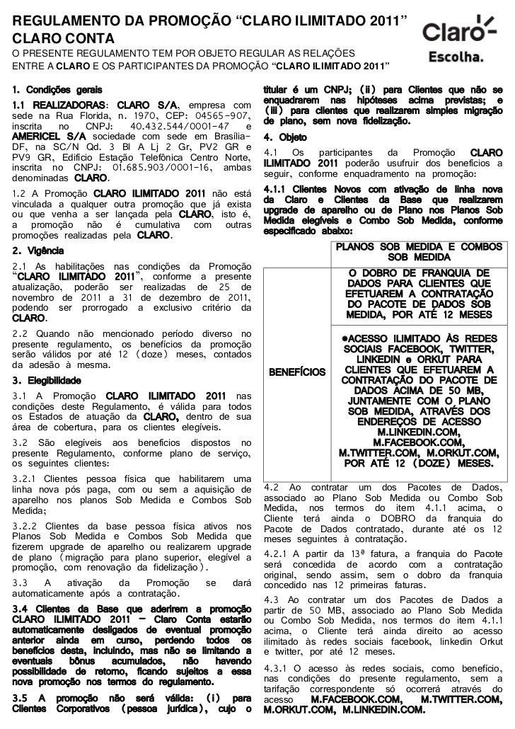 Regulamento promoção claro ilimitado 2011