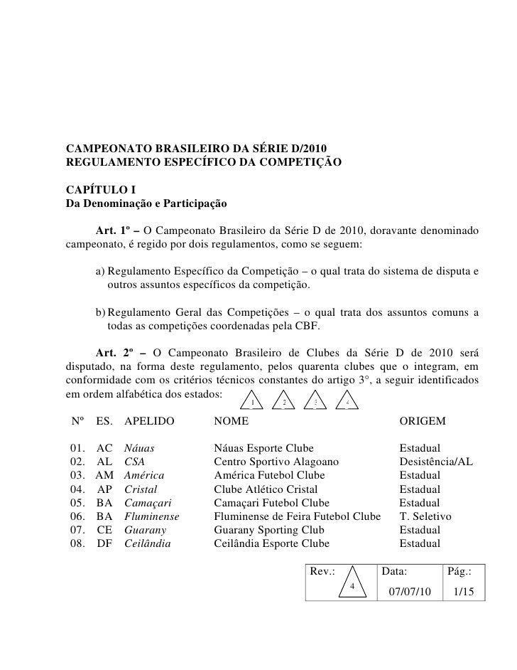 Regulamento da Série D 2010