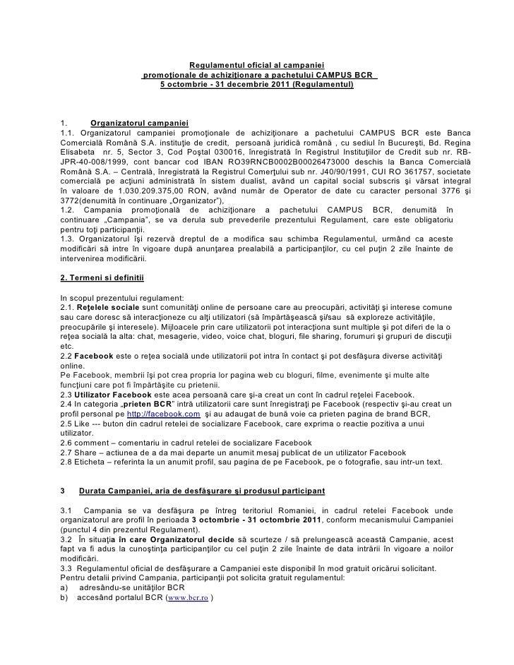 Regulamentul concursului Campus BCR de pe Facebook