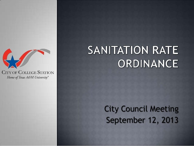 Sanitation Rate Ordinance