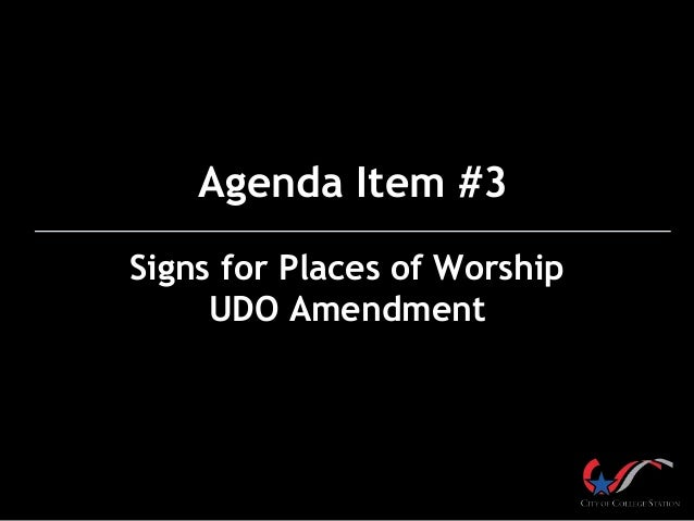 Agenda Item #3 Signs for Places of Worship UDO Amendment