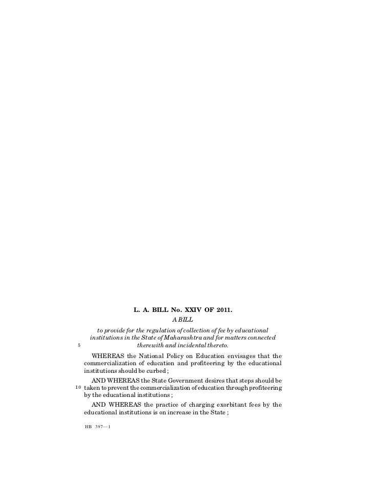 Maharashtra Educational institutions (Regulations of collection of fee) Act, 2011