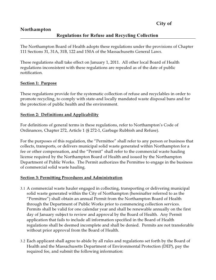 City of Northampton                     Regulations for Refuse and Recycling Collection  The Northampton Board of Health a...