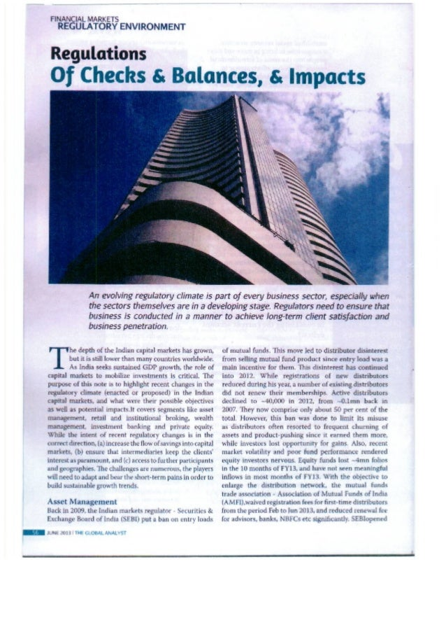 Sourajit Aiyer - The Global Analyst Magazine, India - Regulations And Impacts - July 2013
