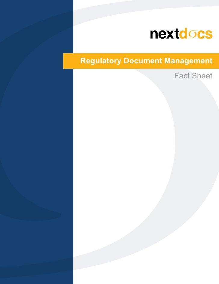 Regulatory Document Management                     Fact Sheet