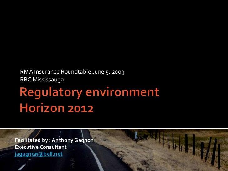 Regulatory discussion v2012