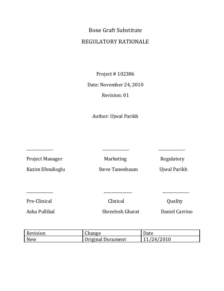 Regulatory Rationale Bone Graft