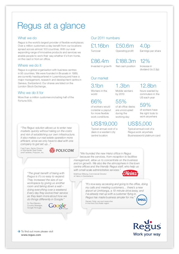Regus at a glance 2012