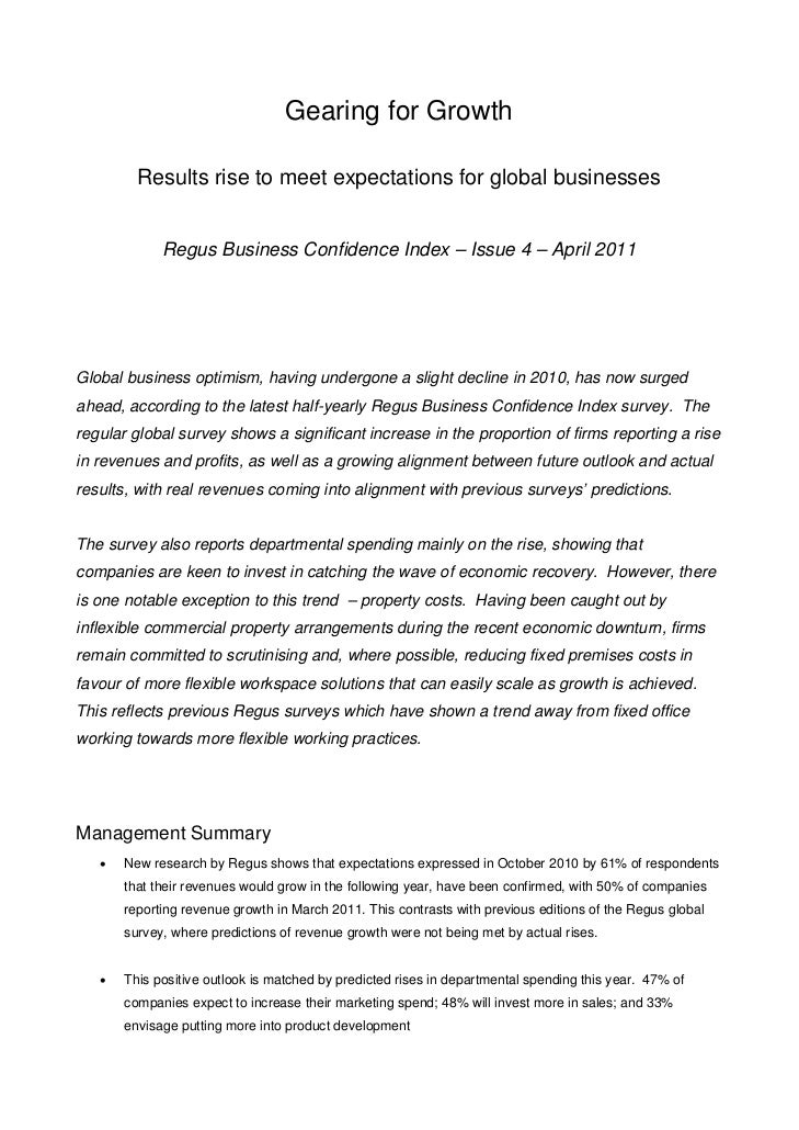 Gearing for Growth         Results rise to meet expectations for global businesses             Regus Business Confidence I...