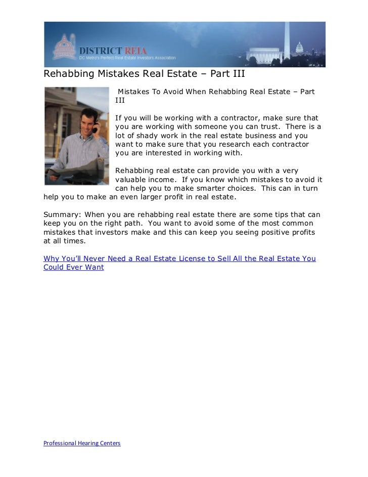 Rehabbing Mistakes Real Estate – Part III                           Mistakes To Avoid When Rehabbing Real Estate – Part   ...