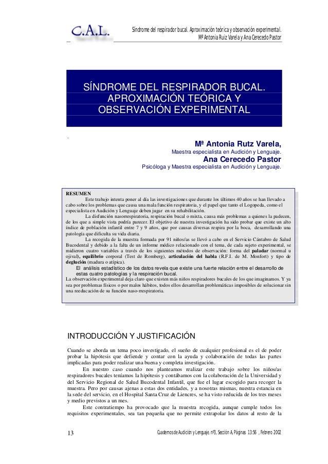 Síndrome del respirador bucal. Aproximación teórica y observación experimental. Mª Antonia Ruiz Varela y Ana Cerecedo Past...