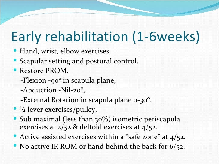 Rehabilitation following a reversed total shoulder ...