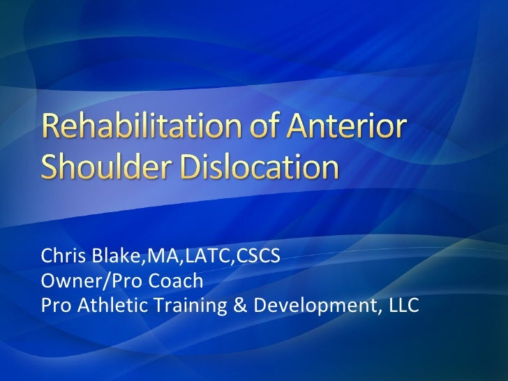anterior shoulder dislocation exercises pdf