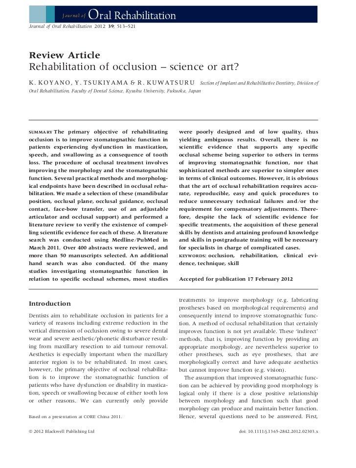 Journal of   Oral RehabilitationJournal of Oral Rehabilitation 2012 39; 513–521Review ArticleRehabilitation of occlusion –...