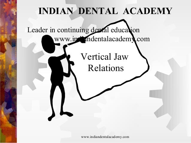 INDIAN DENTAL ACADEMY Leader in continuing dental education www.indiandentalacademy.com  Vertical Jaw Relations  www.india...