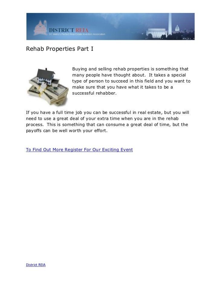 Rehab Properties Part I