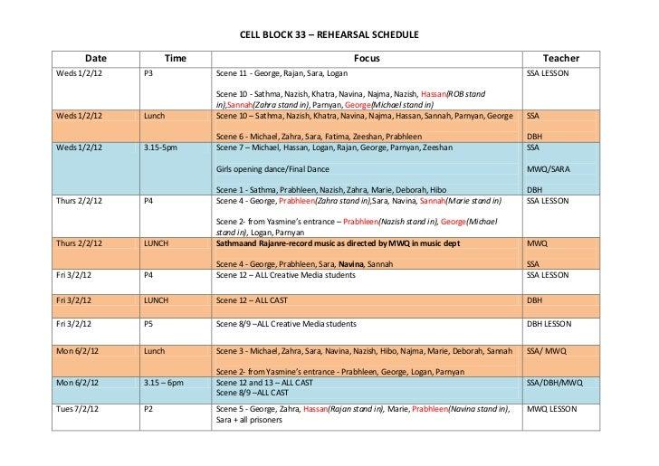 Rehearsal Schedule -  Final 3 Weeks