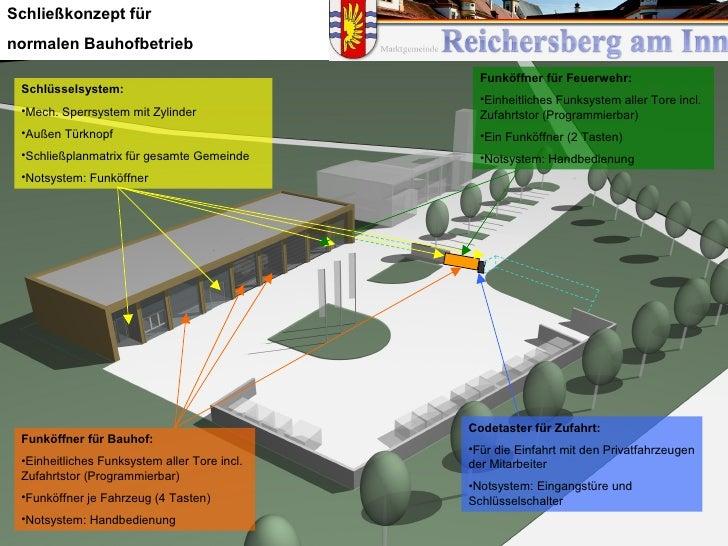 Schließkonzept für normalen Bauhofbetrieb                                                  Funköffner für Feuerwehr:  Schl...