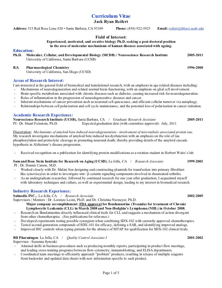 Cell Culture Experience Resume