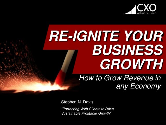"RE-IGNITE YOUR BUSINESS GROWTH How to Grow Revenue in any Economy Stephen N. Davis ""Partnering With Clients to Drive Susta..."