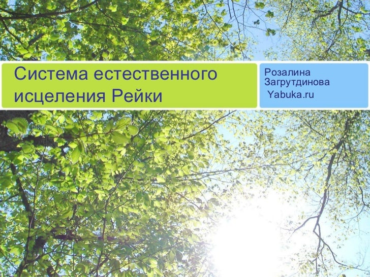 Система естественного исцеления Рейки Розалина Загрутдинова Yabuka.ru