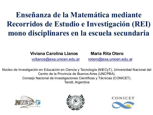 Enseñanza de la Matemática mediante Recorridos de Estudio e Investigación (REI) mono disciplinares en la escuela secundari...