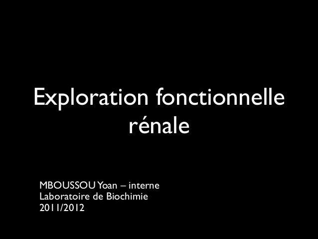 Exploration fonctionnelle rénale ! MBOUSSOU Yoan – interne  Laboratoire de Biochimie  2011/2012