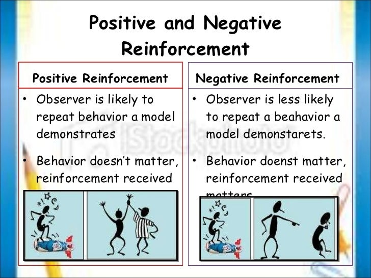 positive negative reinforcement Reinforcement can be further classified into positive reinforcement and negative reinforcement, based on the kind of stimuli used to increase the rate of operant we have made an effort to introduce the concept of negative reinforcement in this article.