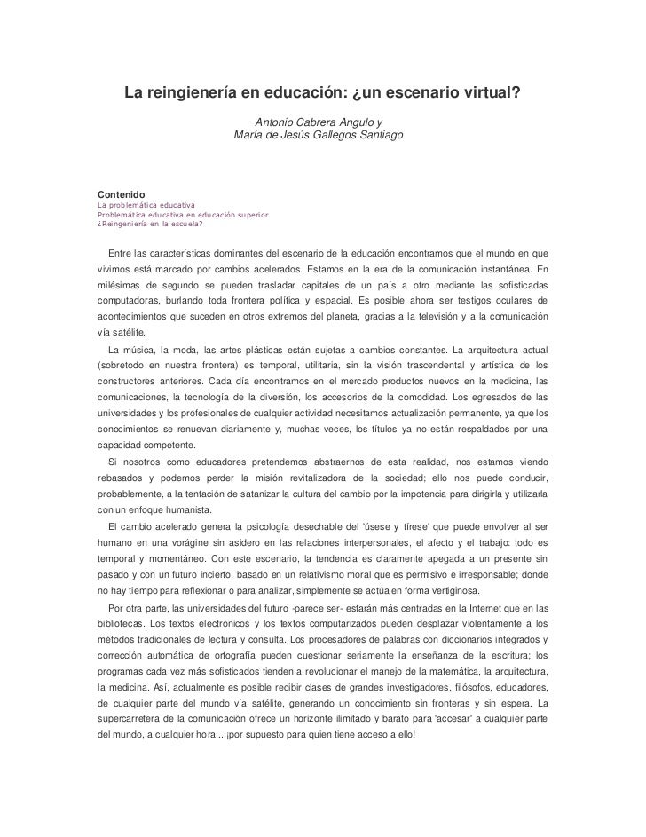 La reingienería en educación: ¿un escenario virtual?Antonio Cabrera Angulo y María de Jesús Gallegos Santiago ContenidoLa ...