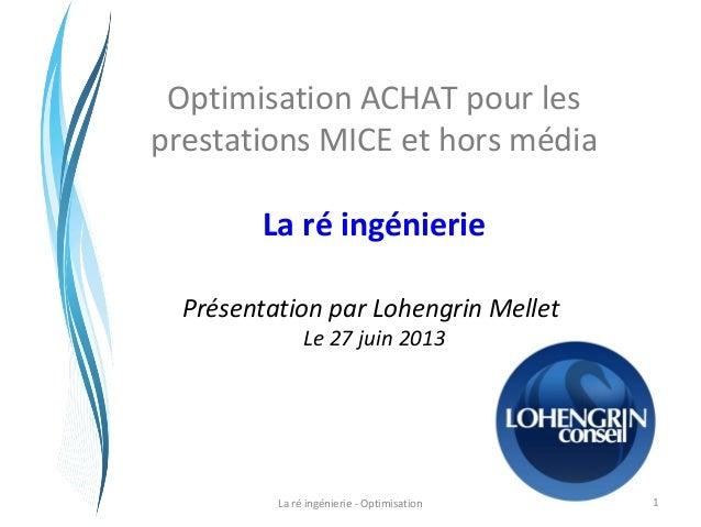 Optimisation ACHAT pour les prestations MICE et hors média La ré ingénierie Présentation par Lohengrin Mellet Le 27 juin 2...