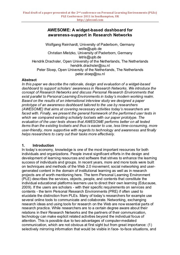 Final	  draft	  of	  a	  paper	  presented	  at	  the	  2nd	  conference	  on	  Personal	  Learning	  Environments	  (PLEs...